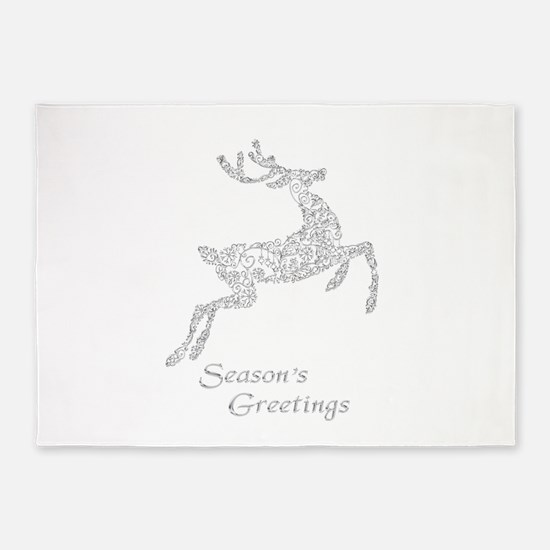 Filigree Metallic Christmas Reindee 5'x7'Area Rug