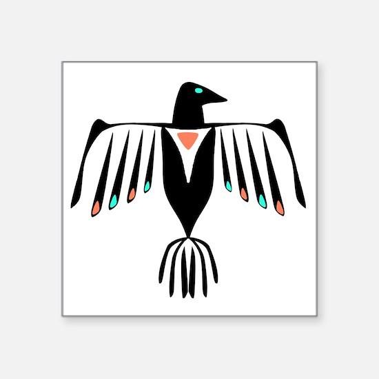 "Native American Thunderbird Square Sticker 3"" x 3"""