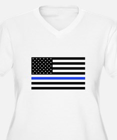 Flag Thin Blue Line Plus Size T-Shirt