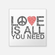 "Cute Love peace happiness Square Sticker 3"" x 3"""