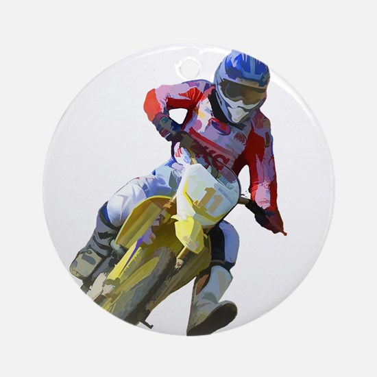 Motocross Driver Round Ornament