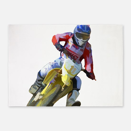 Motocross Driver 5'x7'Area Rug