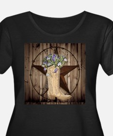 rustic barn texas cowgirl boots Plus Size T-Shirt