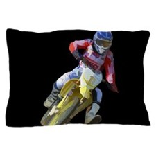 Motocross Driver on Black Pillow Case
