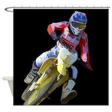 Motocross Driver on Black Shower Curtain
