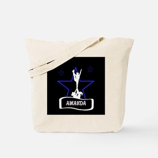 Black and Blue Cheerleader Tote Bag