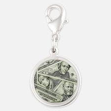 Money Silver Round Charm