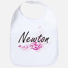 Newton surname artistic design with Flowers Bib
