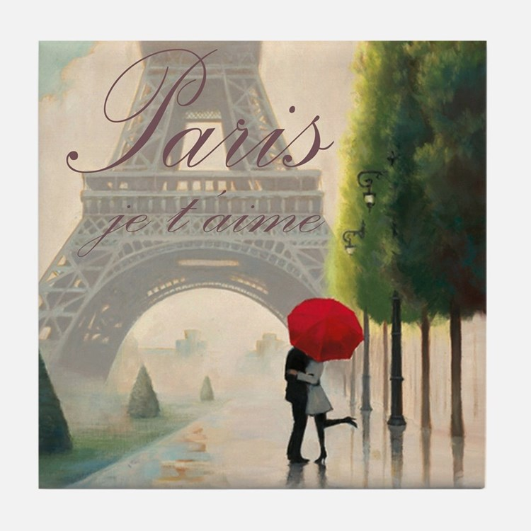 Je T'aime Paris Tile Coaster