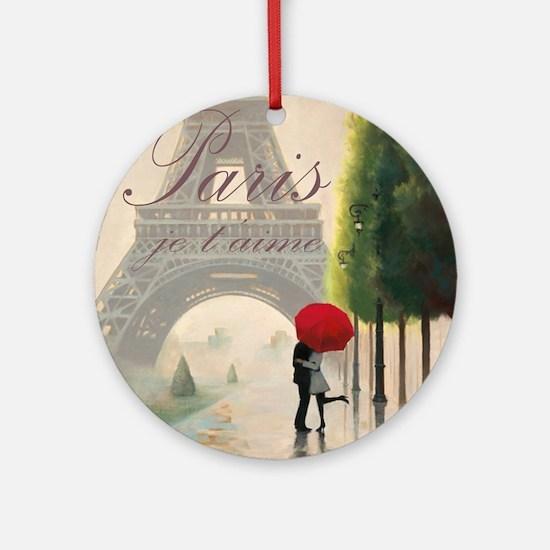 Je T'aime Paris Round Ornament