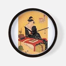 Immortal Poet by Chobunsei Eishi Wall Clock