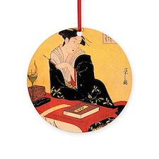 Immortal Poet by Chobunsei Eishi Round Ornament
