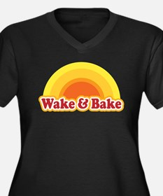 Wake and Bake Women's Plus Size V-Neck Dark T-Shir
