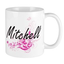 Mitchell surname artistic design with Flowers Mugs