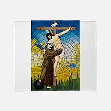 St Francis Embraces Jesus 2 Throw Blanket