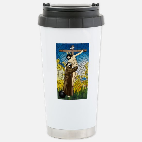 St Francis Embraces Jesus 2 Travel Mug