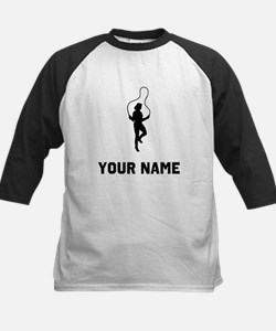Woman Jumping Rope Silhouette Baseball Jersey
