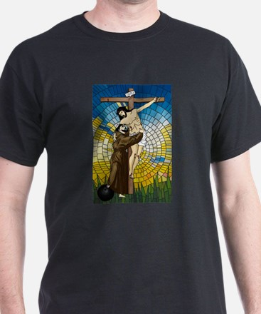 St Francis Embraces Jesus 2 T-Shirt
