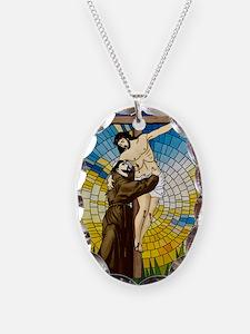 St Francis Embraces Jesus 2 Necklace