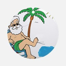 Santa Vacation Round Ornament