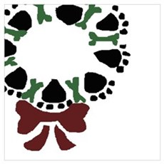 Paw Print Christmas Wreath Poster