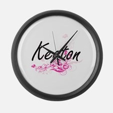 Keaton surname artistic design wi Large Wall Clock