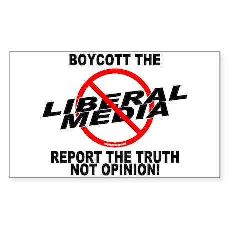 Boycott The Liberal Media Rectangle Sticker