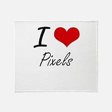 I Love Pixels Throw Blanket