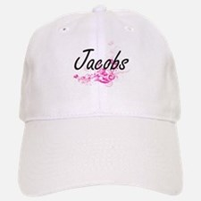 Jacobs surname artistic design with Flowers Baseball Baseball Cap