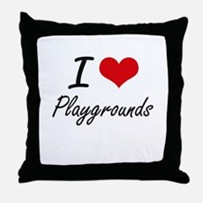 I Love Playgrounds Throw Pillow