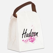 Hudson surname artistic design wi Canvas Lunch Bag