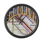 brooklyn logo with copy Large Wall Clock