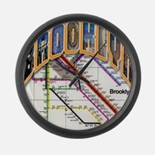 brooklyn logo with copy Large Wall Clock