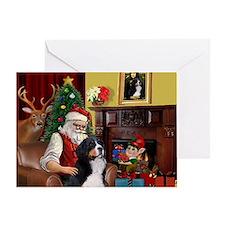 Santa's Home & Bernese Greeting Card