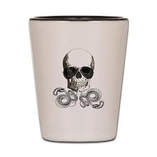 grunge steampunk skeleton skull Shot Glass
