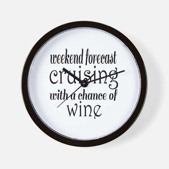Cruising and Wine Wall Clock