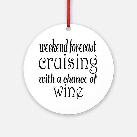 Cruising and Wine Round Ornament