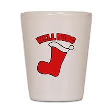 Well hung christmas Shot Glass