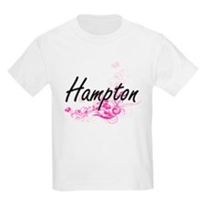 Hampton surname artistic design with Flowe T-Shirt