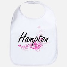 Hampton surname artistic design with Flowers Bib