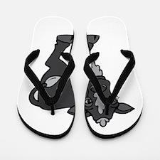 Black and grey calf Flip Flops