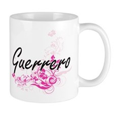 Guerrero surname artistic design with Flowers Mugs