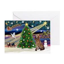 Xmas Magic & Bloodhound Greeting Card