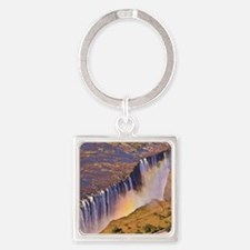 WATERFALL AFRICA ZAMBIA Square Keychain