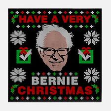 very bernie sanders ugly christmas Tile Coaster
