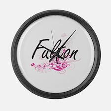 Fulton surname artistic design wi Large Wall Clock