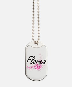 Flores surname artistic design with Flowe Dog Tags