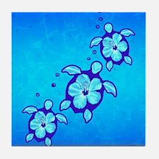 3 Blue Honu Turtles Tile Coaster