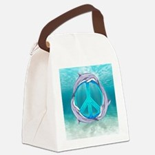 Dolphin Peace Canvas Lunch Bag