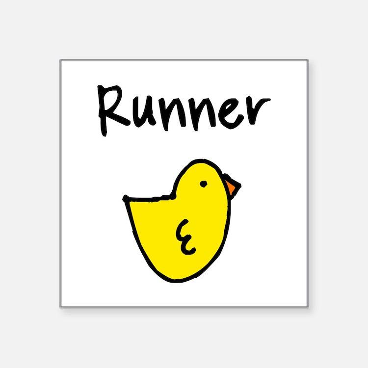 "Cute Runner chick Square Sticker 3"" x 3"""